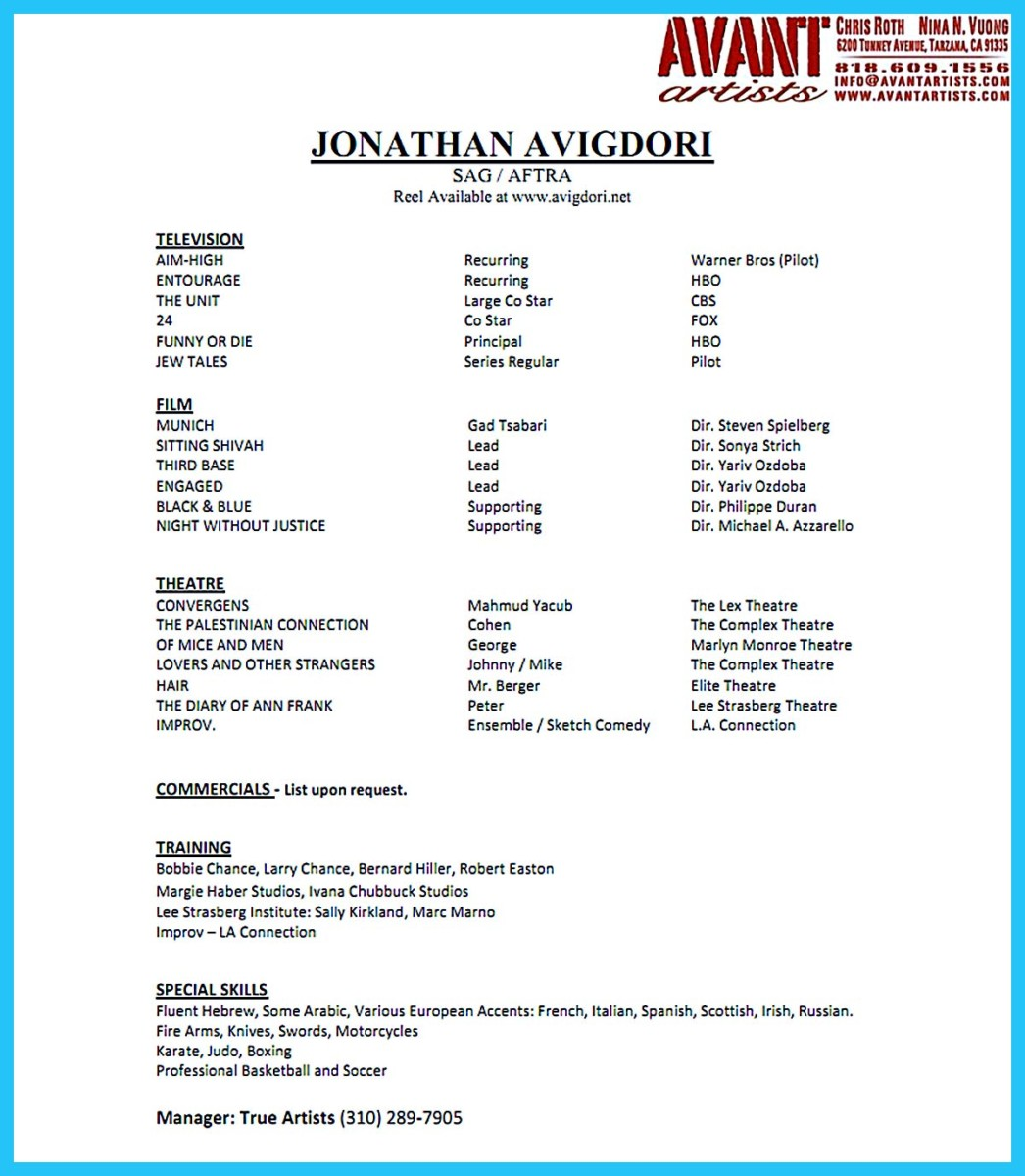 actor resume template word