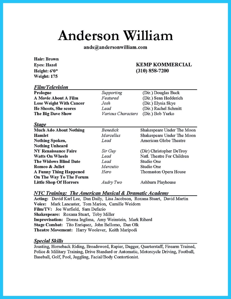 impressive actor resume sample to make - Resume Format For Actors