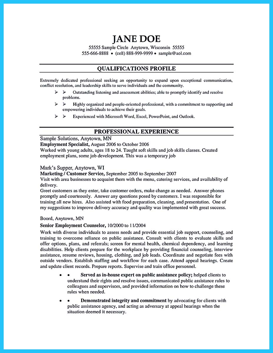 Outstanding Counseling Resume Examples