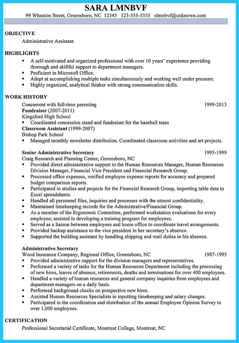 sample to make administrative assistant resume