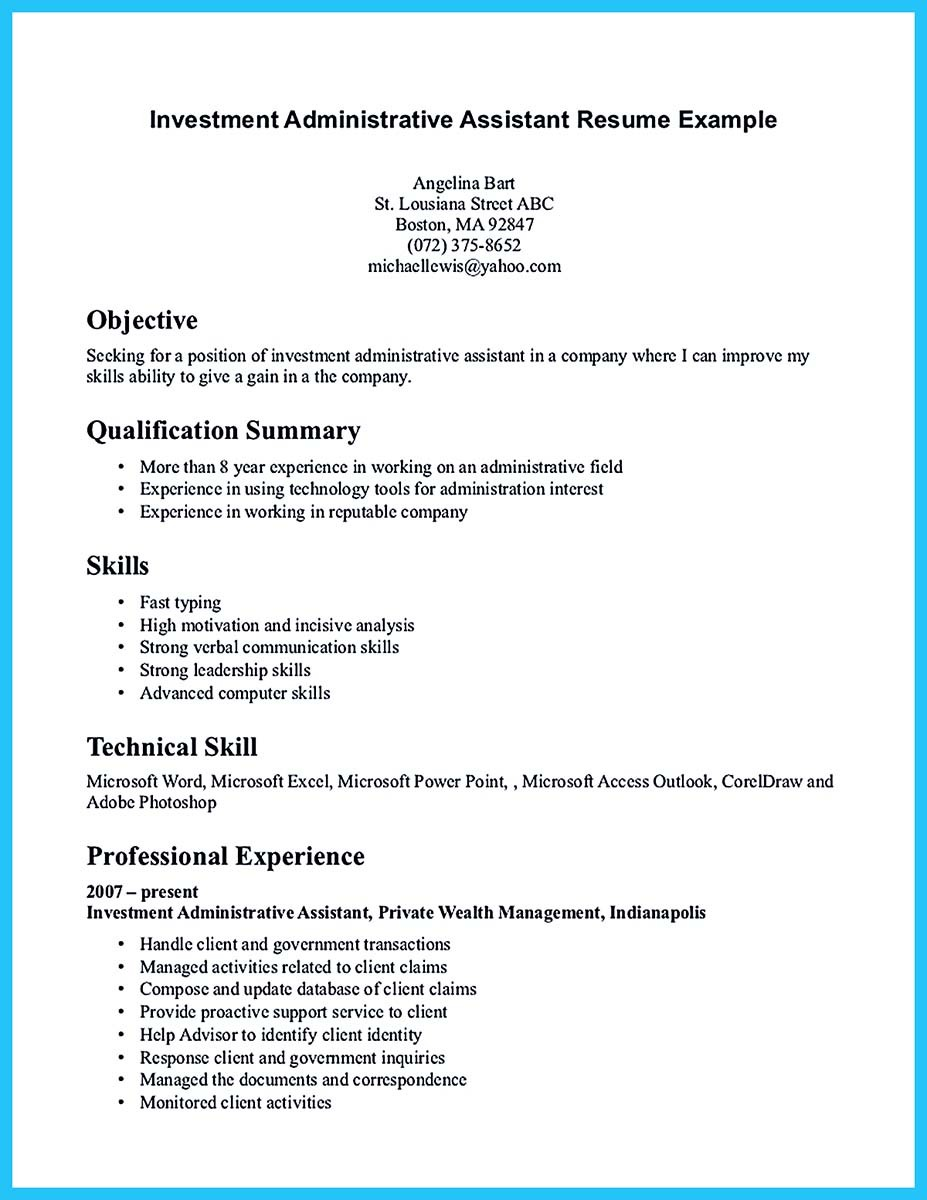 Best administrative assistant resume sample to get job soon for Cover letter examples for administrative assistant positions
