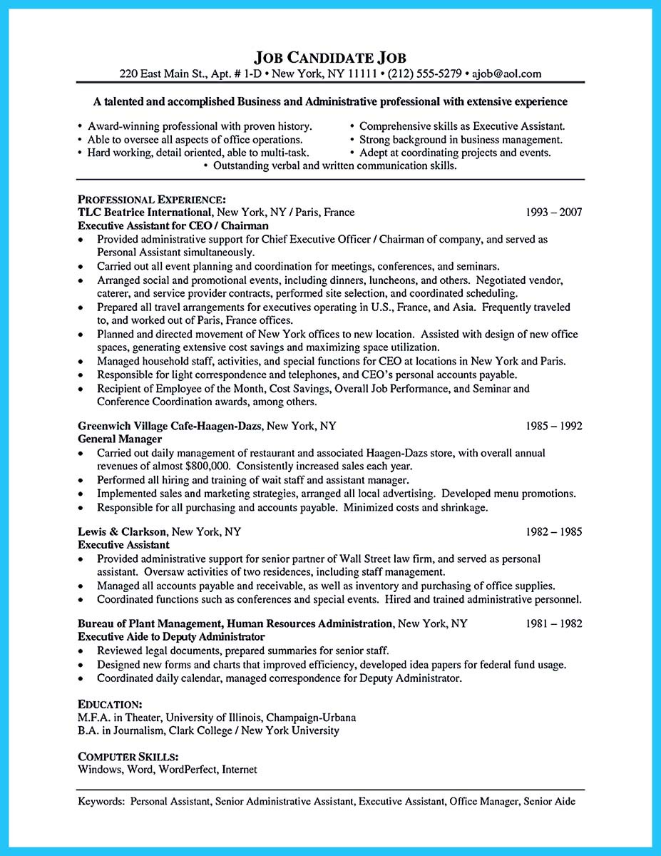Example of administrative assistant resume