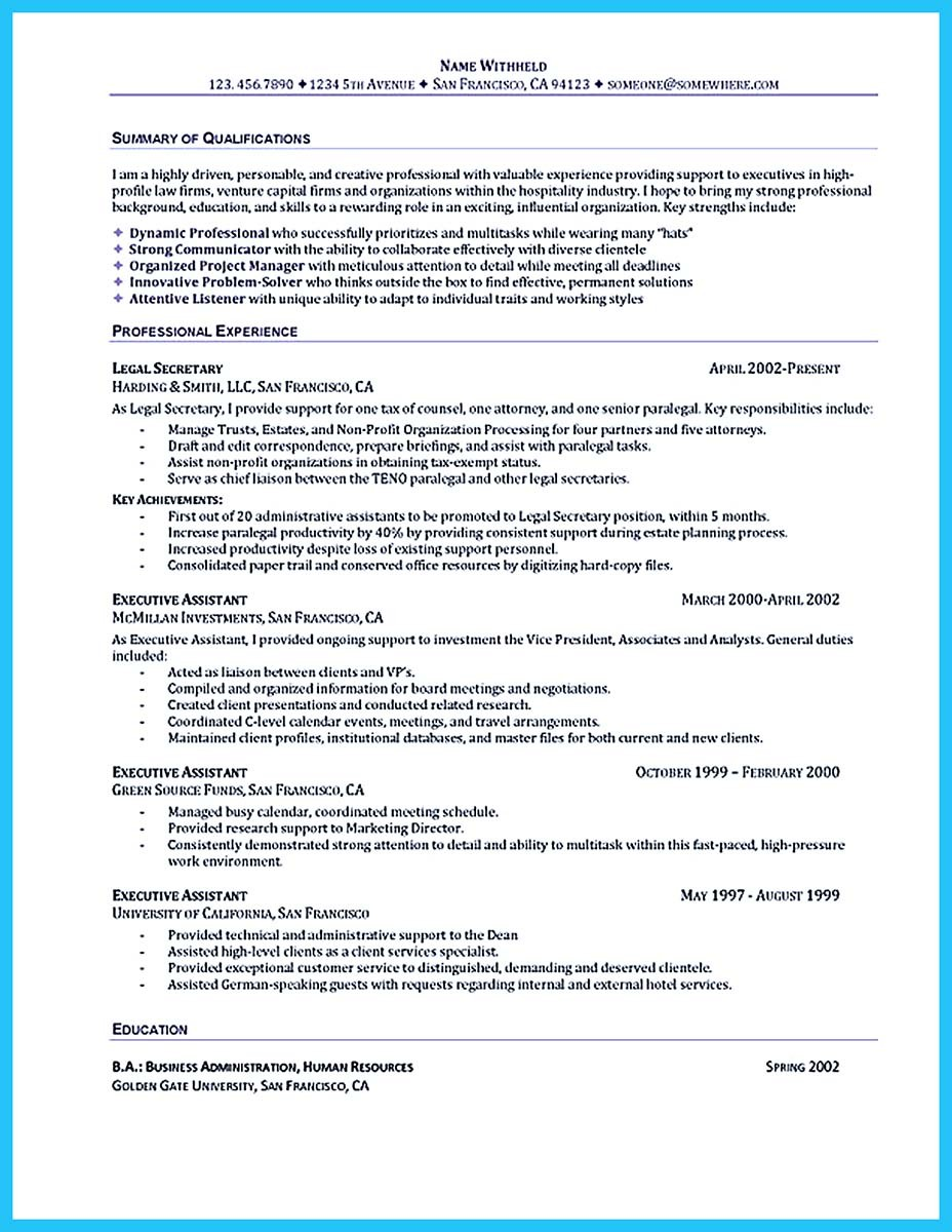 executive assistant resumes samples best resume example template net