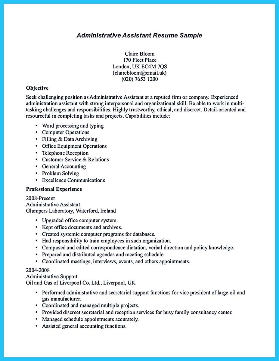 resume samples for administrative assistant position - Resume Skills For Administrative Assistant Position