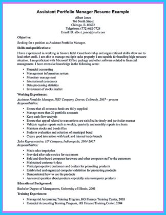 assistant portfolio manager resume powerwind energy