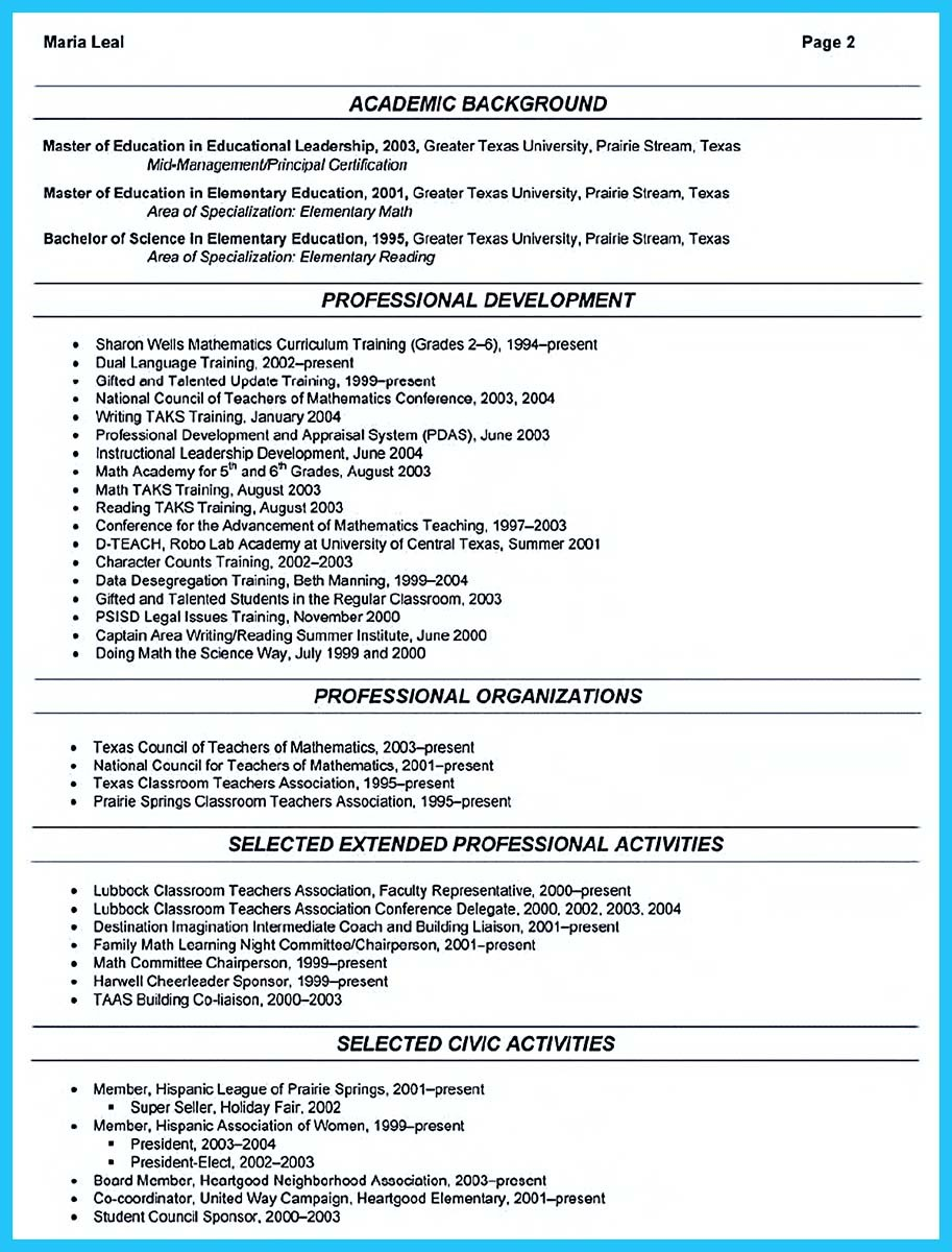 affiliations on resume example