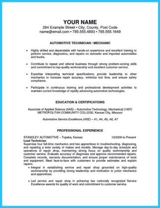 Mechanic Resume Examples Professional Automotive Technician Resume