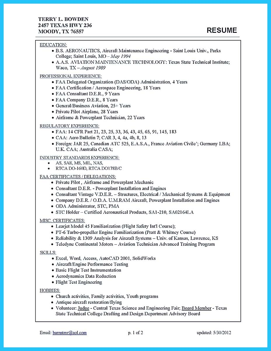 ... Aircraft Sheet Metal Mechanic Resume ...  Aviation Mechanic Resume