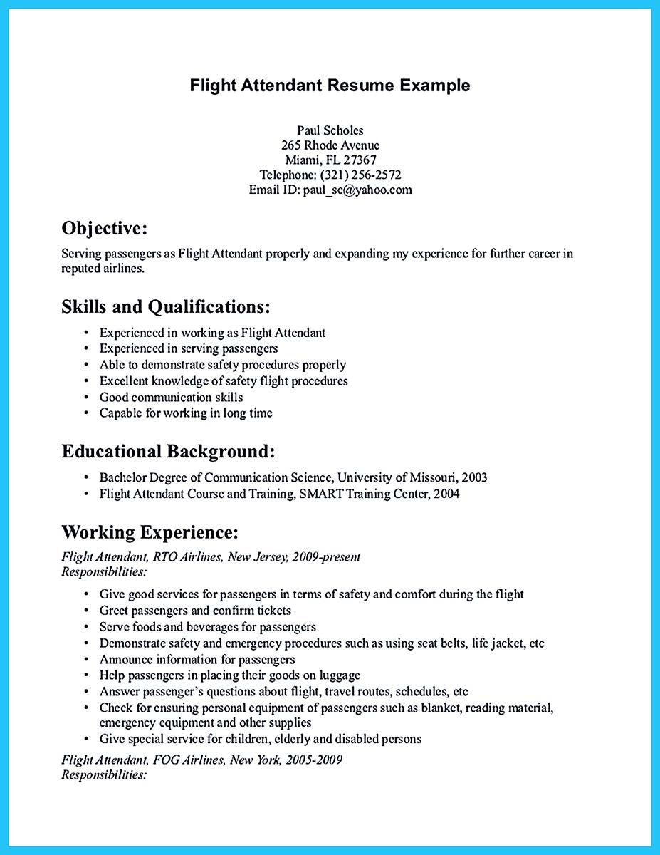 airline resume - American Airlines Flight Attendant Sample Resume