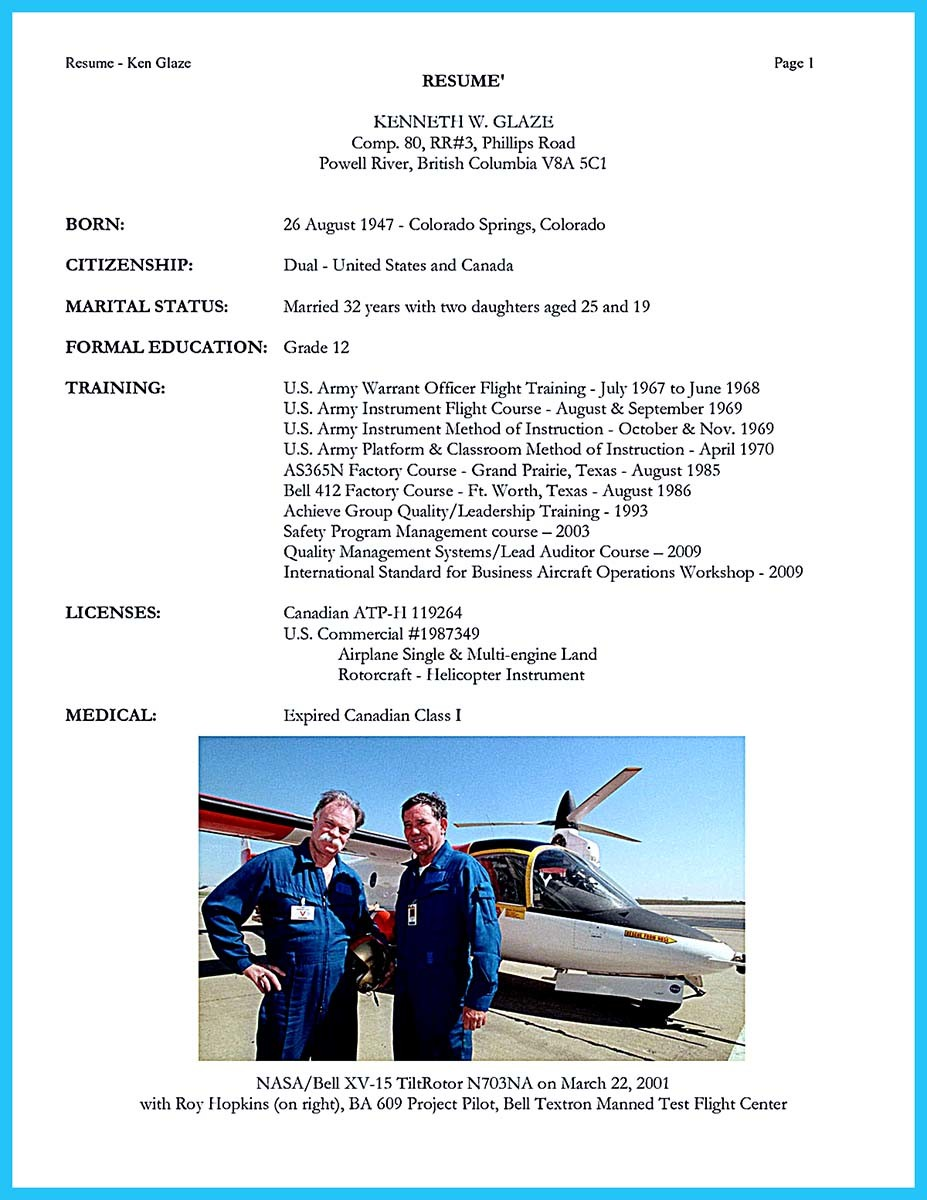 airline pilot resume example