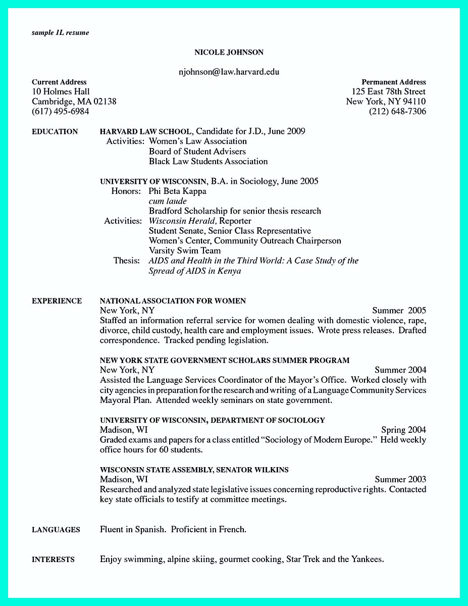 amherst college resume template