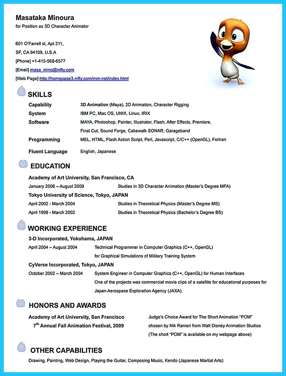 animation resume templates