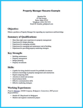 apartment manager resume template