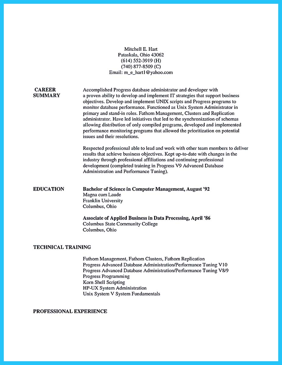 application database administrator resume
