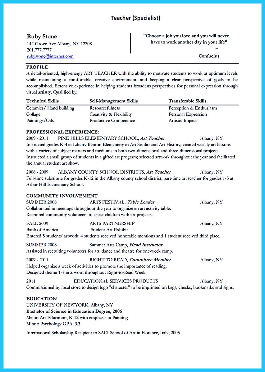 art teacher resume format