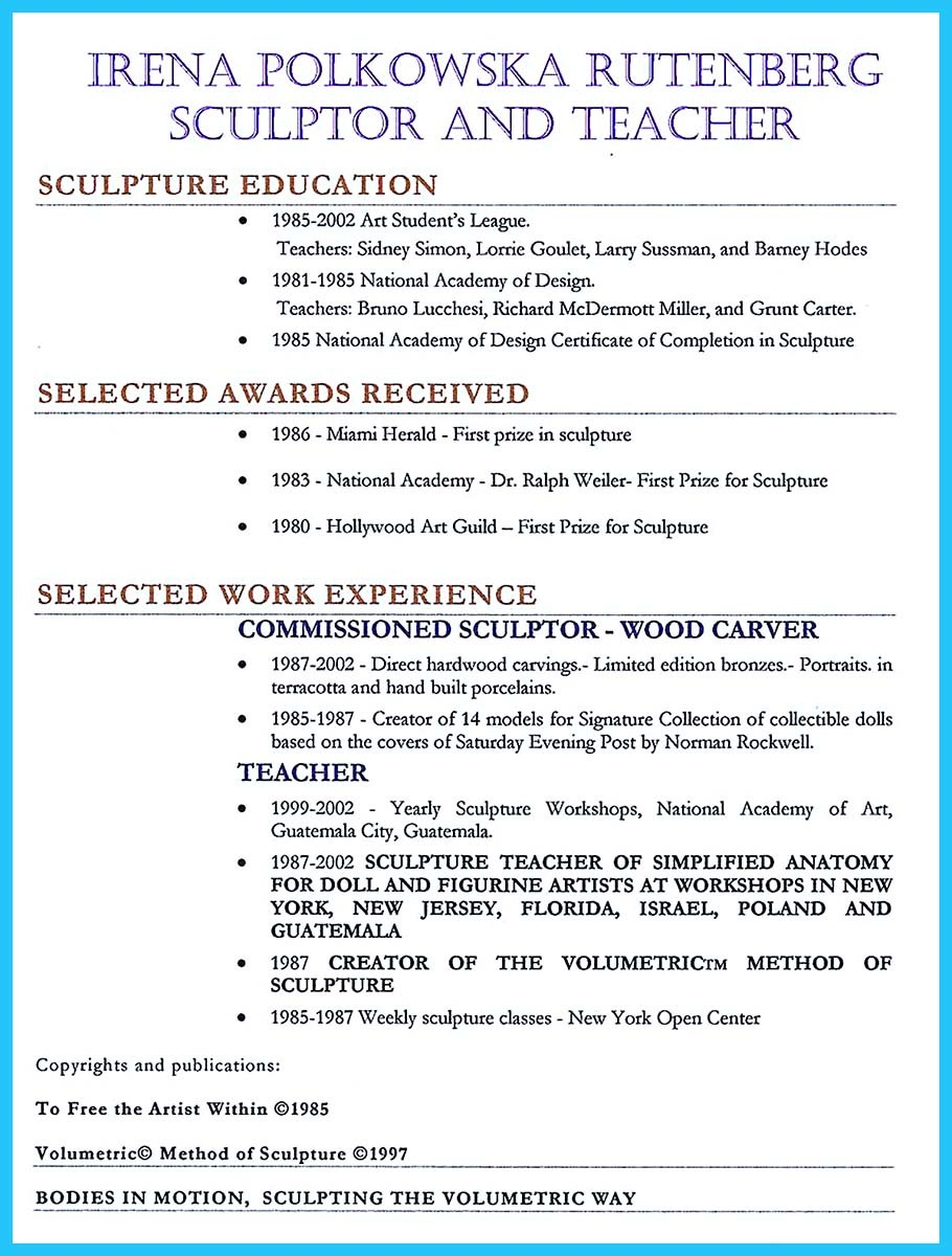 creative and extraordinary art teacher resume for any level education