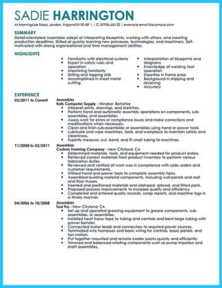 assembly line worker job description resume