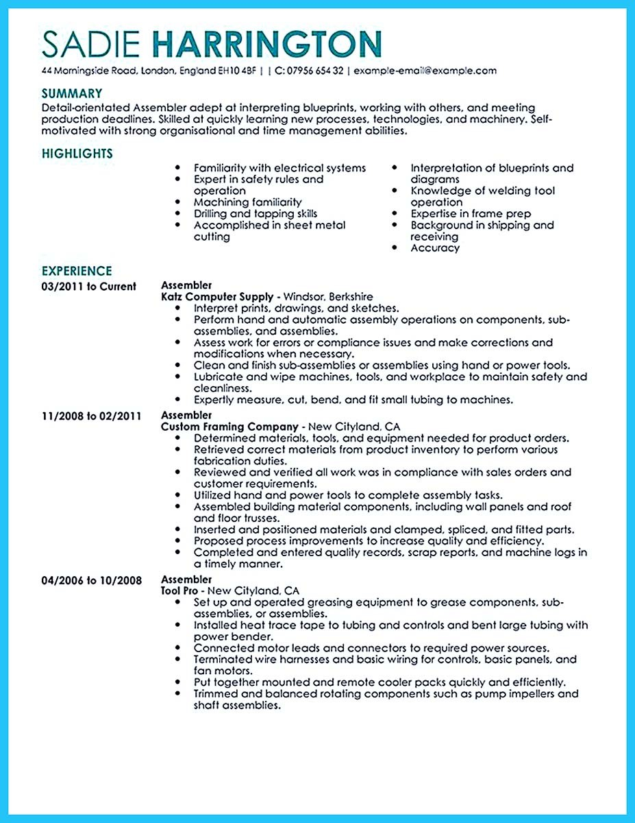Assembly Line Job Description For Resume Worker