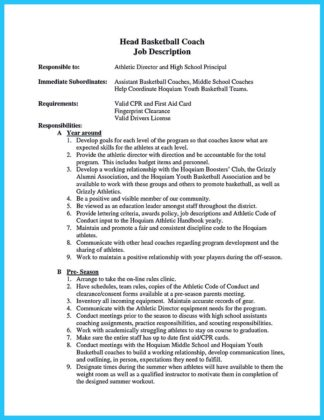 assistant basketball coach resume and example of basketball coach resume