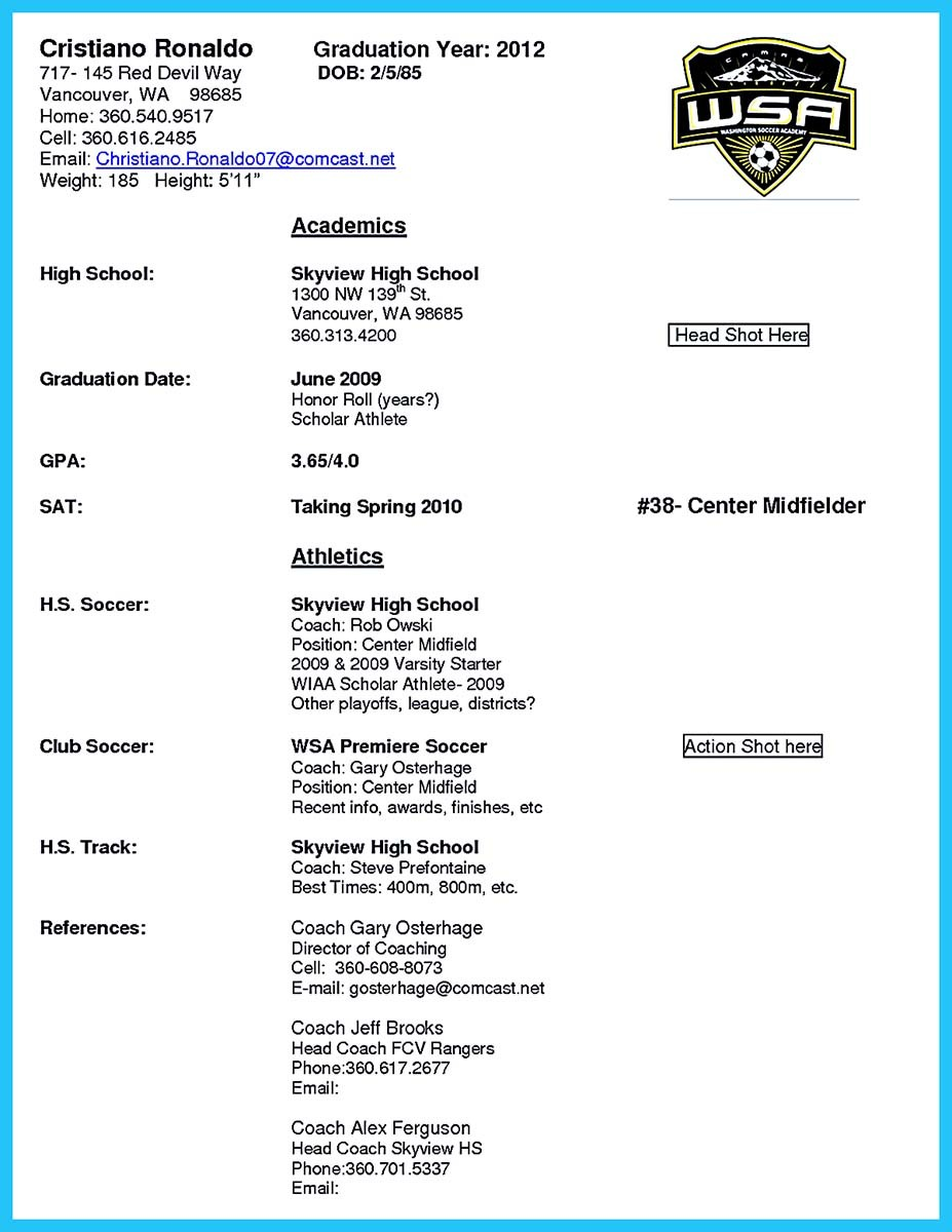 ... Assistant Basketball Coach Resume Sample And Aau Basketball Coach Resume  ...  Soccer Player Resume
