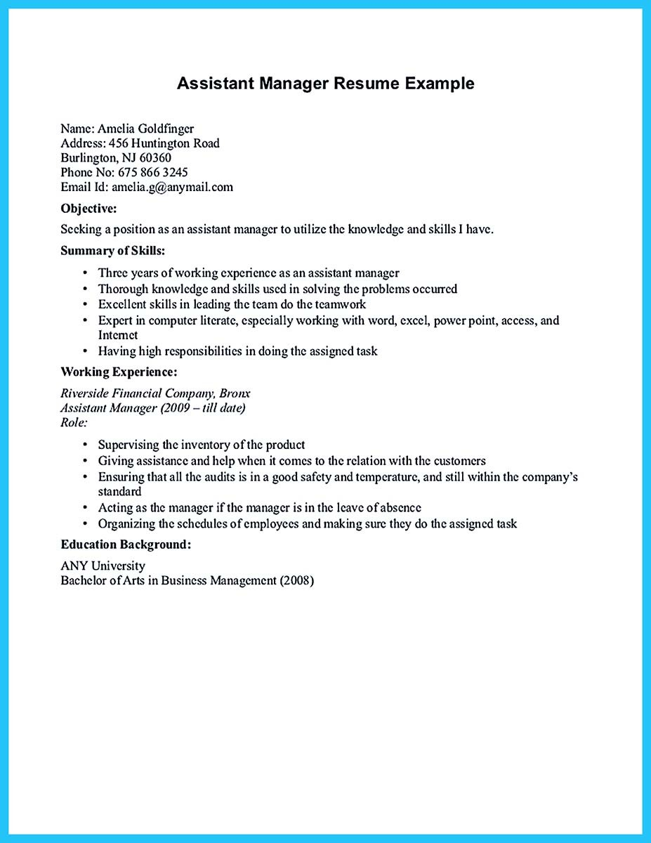 Store Assistant Manager Resume That Can Bag You – Assistant Manager Resume