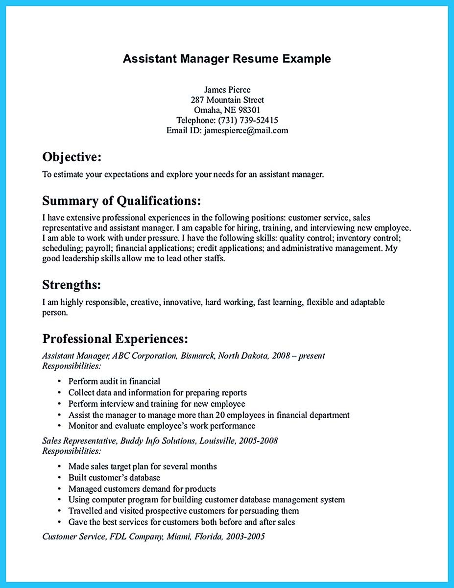 assistant manager duties for resume