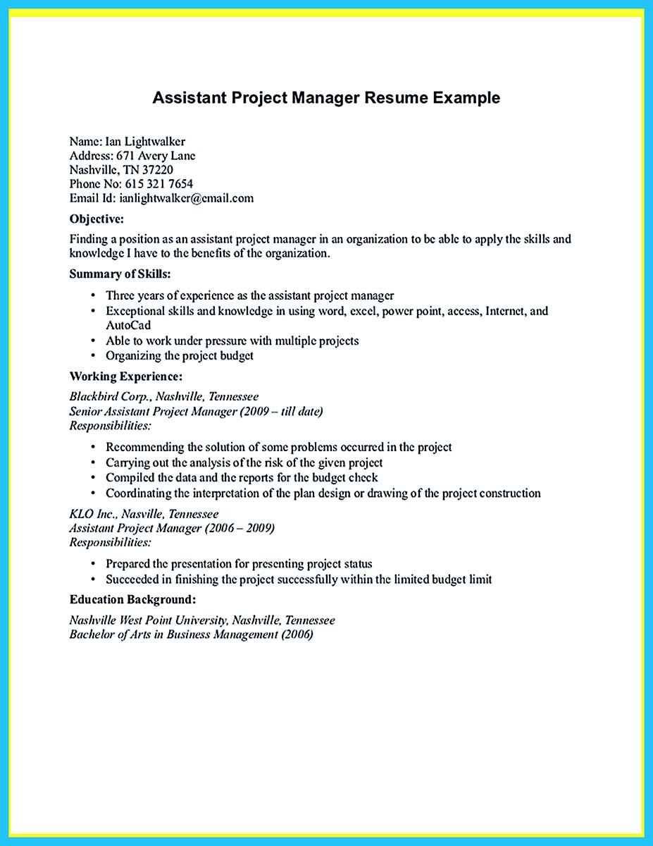 assistant manager job description for resume