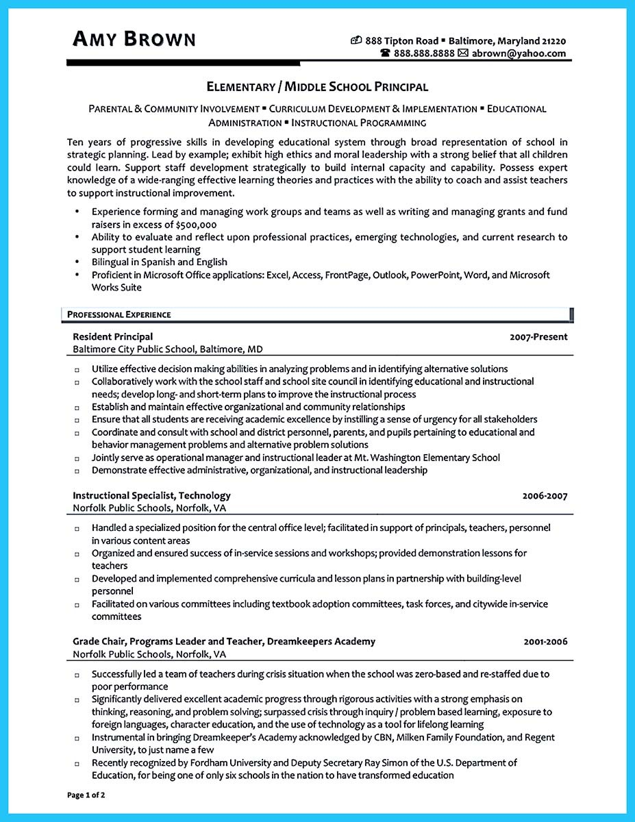 Superb Assistant Principal Resume No Experience ... Idea Assistant Principal Resume