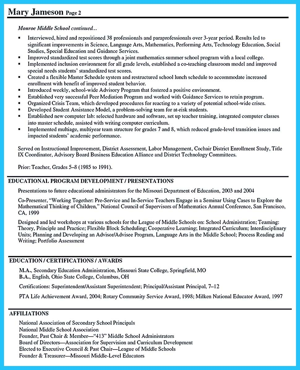 an effective sample of assistant principal resume