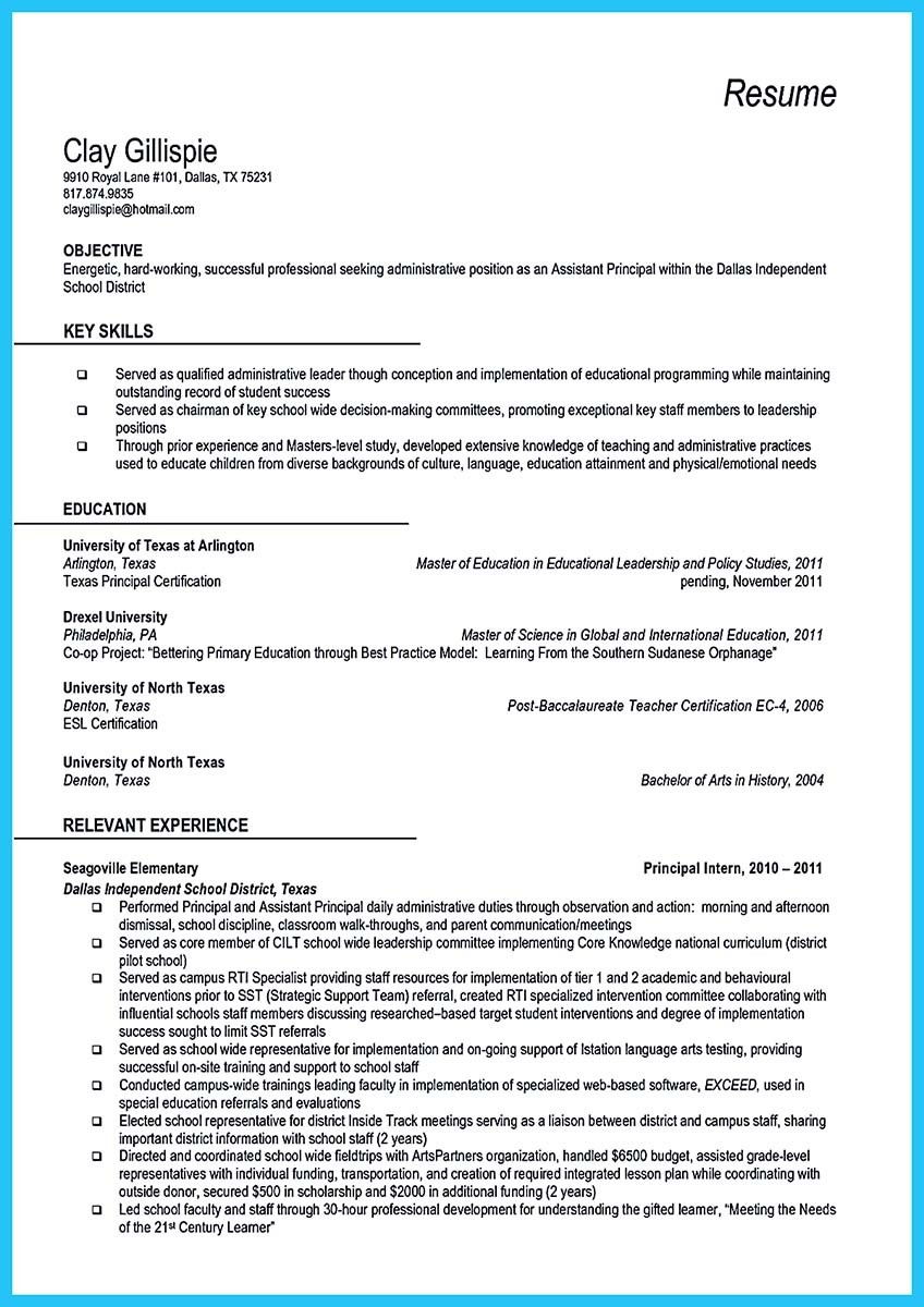 ... Assistant Principal Resume ...  Resume For Assistant Principal