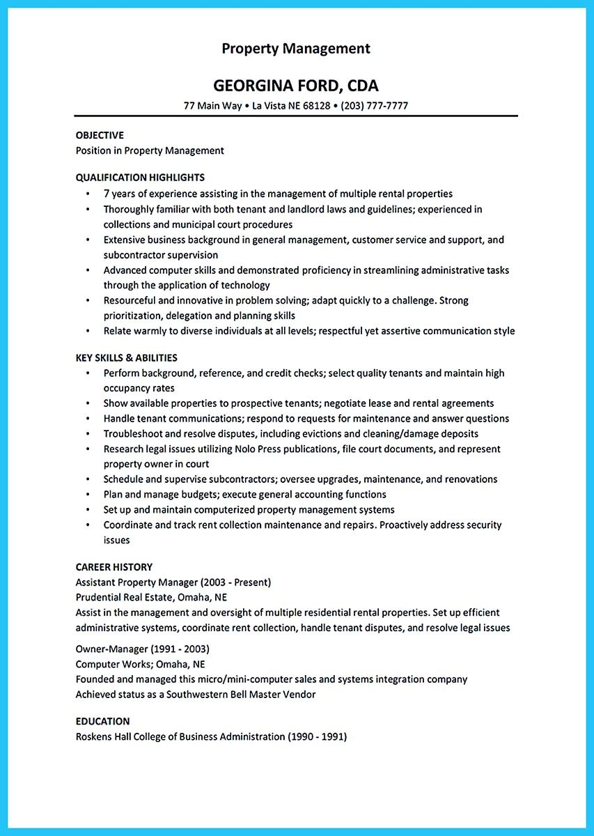 sample resume for assistant resident manager