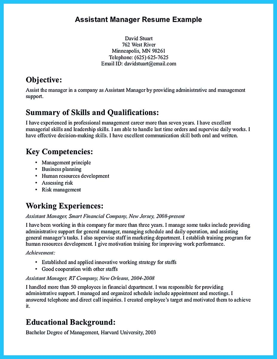 sample resume for assistant manager in retail - writing a great assistant property manager resume