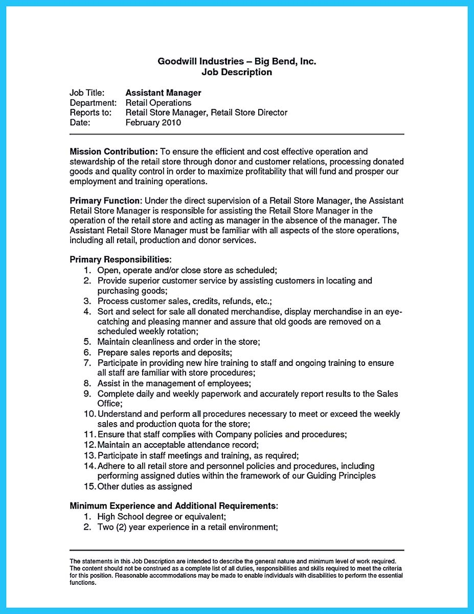 assistant store manager job description resume and resume for assistant store manager
