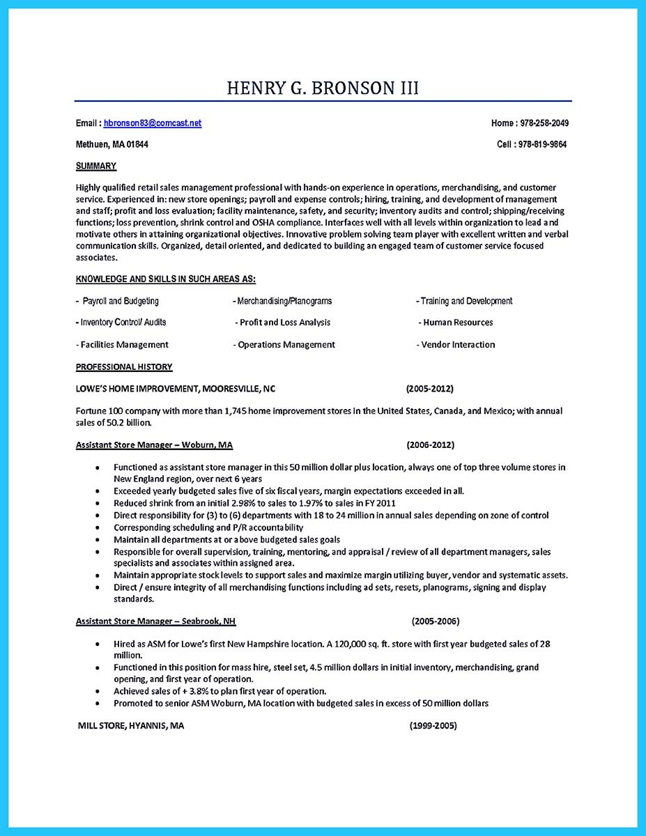 Store Assistant Manager Resume That Can Bag You – Store Manager Job Description