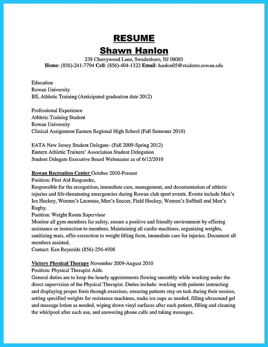 trainer resume examplesathletic training resume cover letter 324x420
