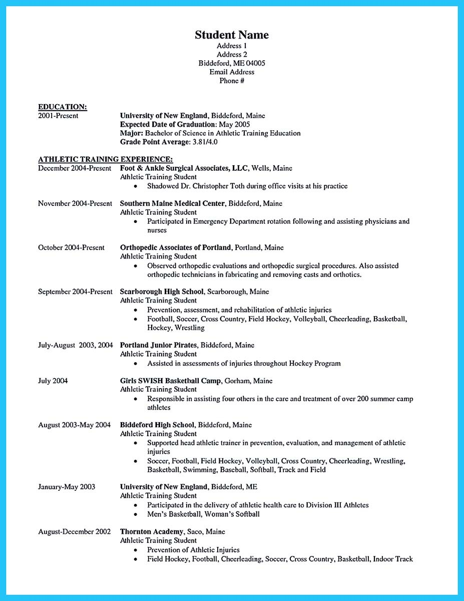 Athletic Training Resume Samples