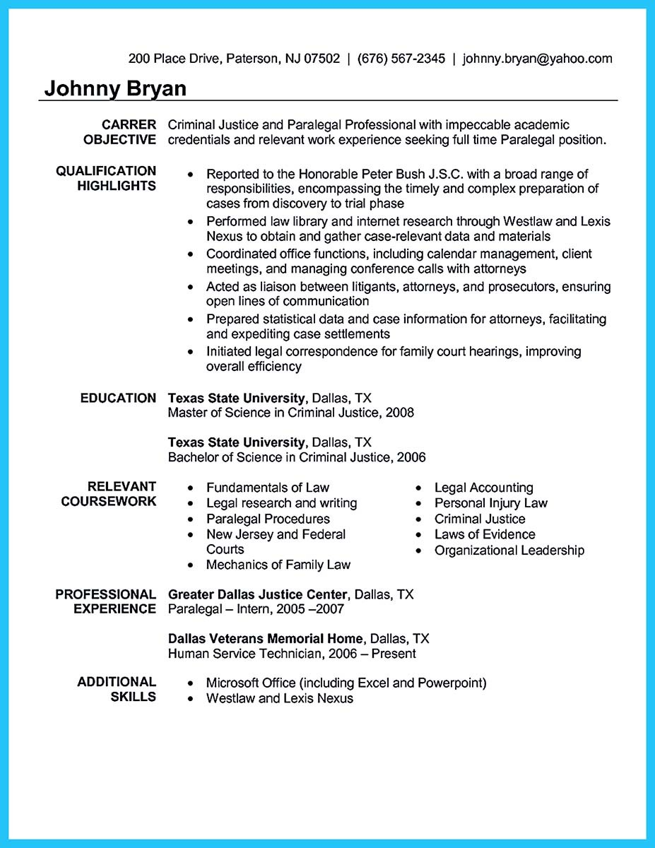 Criminal Justice Internship Resume Objective
