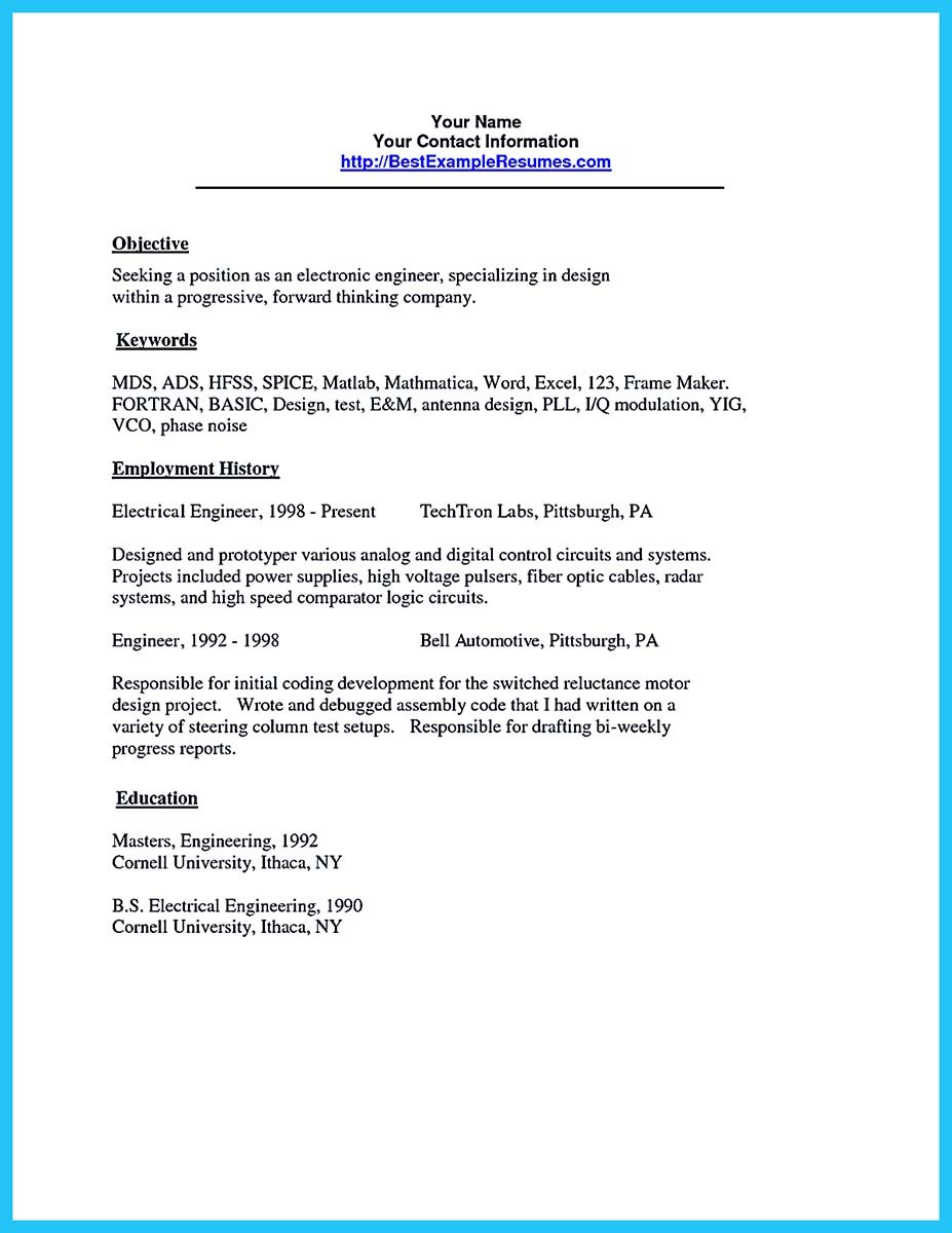 audio engineer resume example