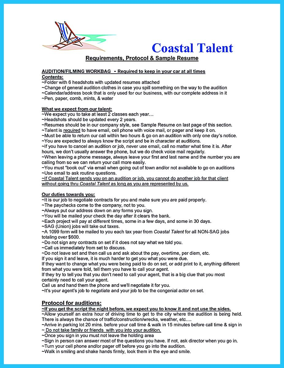 audition resume sample template 11 - Leasing Agent Sample Resume