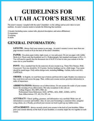 Learning to Write an Audition Resume  %Image Name