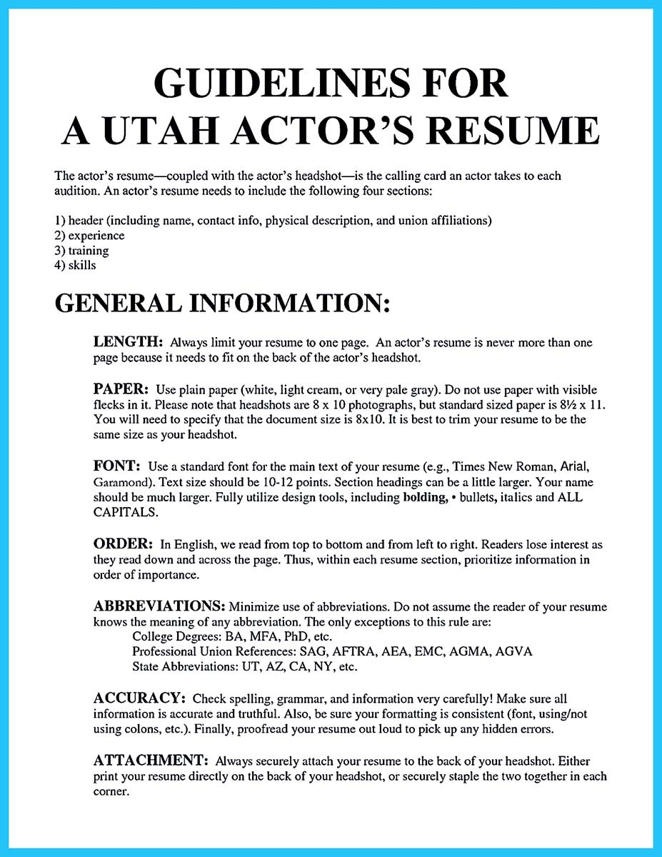 learning to write an audition resume