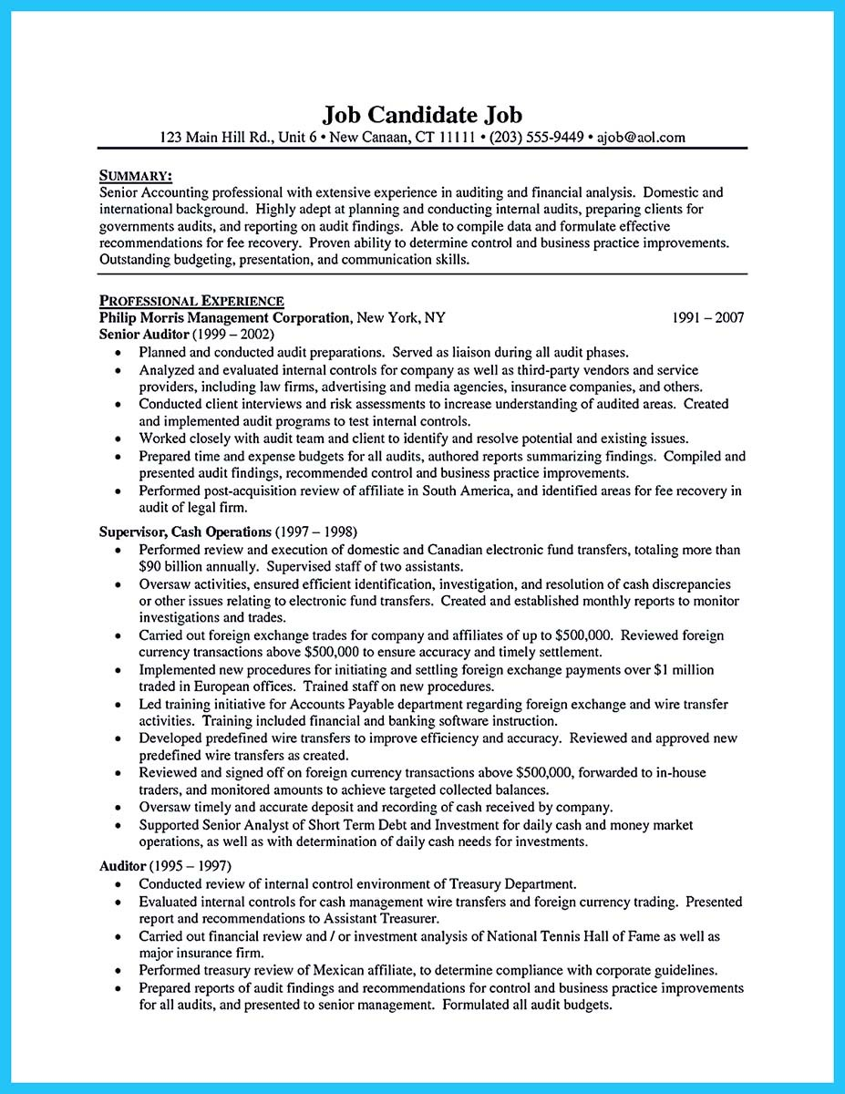 Sox auditor sample resume