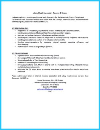 auditor resume examples and audit supervisor resume
