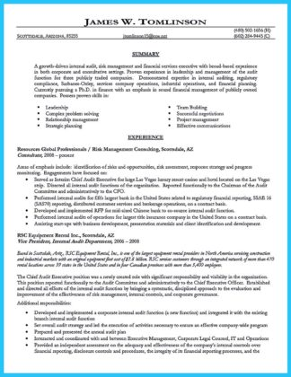 auditor resume summary and audit senior manager resume sample