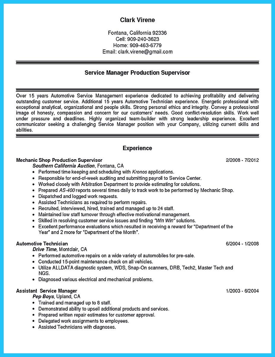 auto body tech resume examples