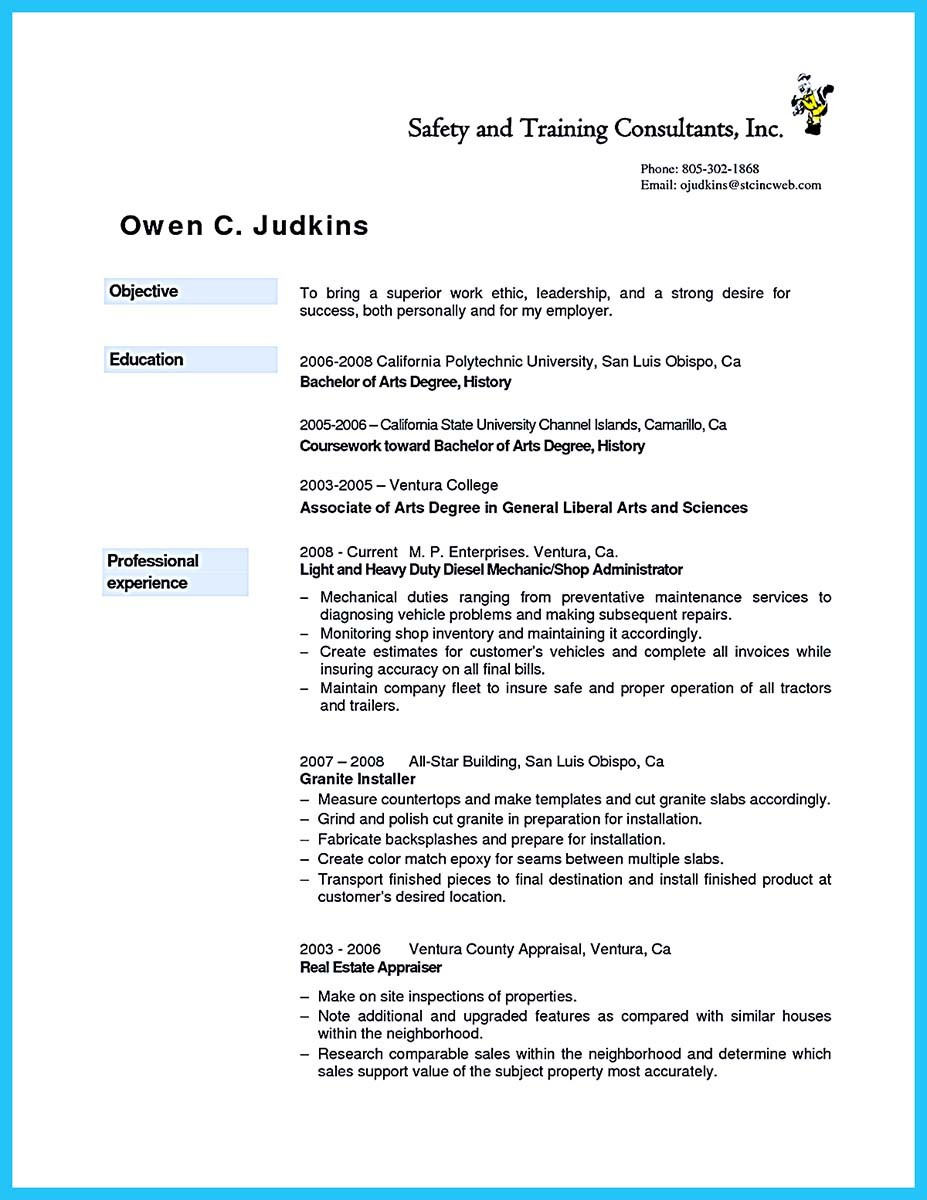 auto mechanic resume builder
