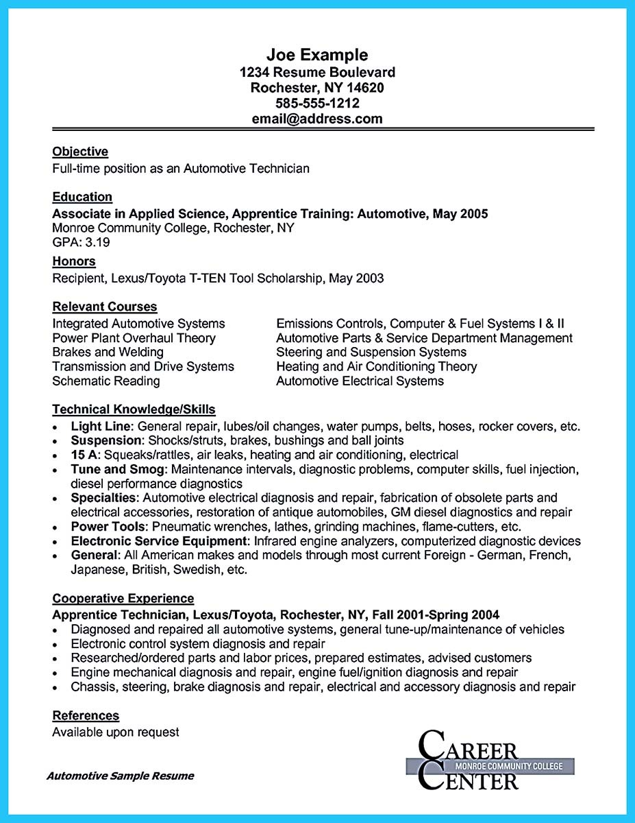 auto mechanic resume cover letter