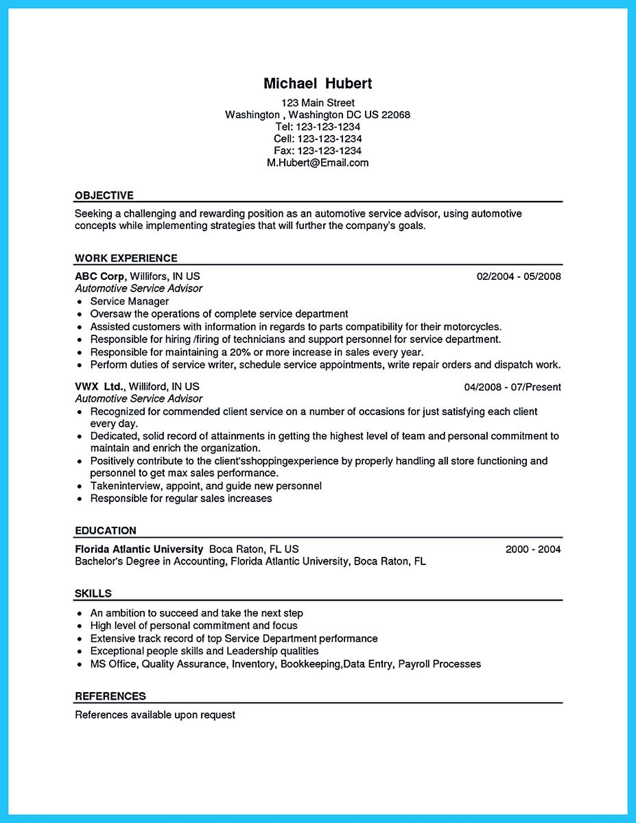 auto mechanic resume description