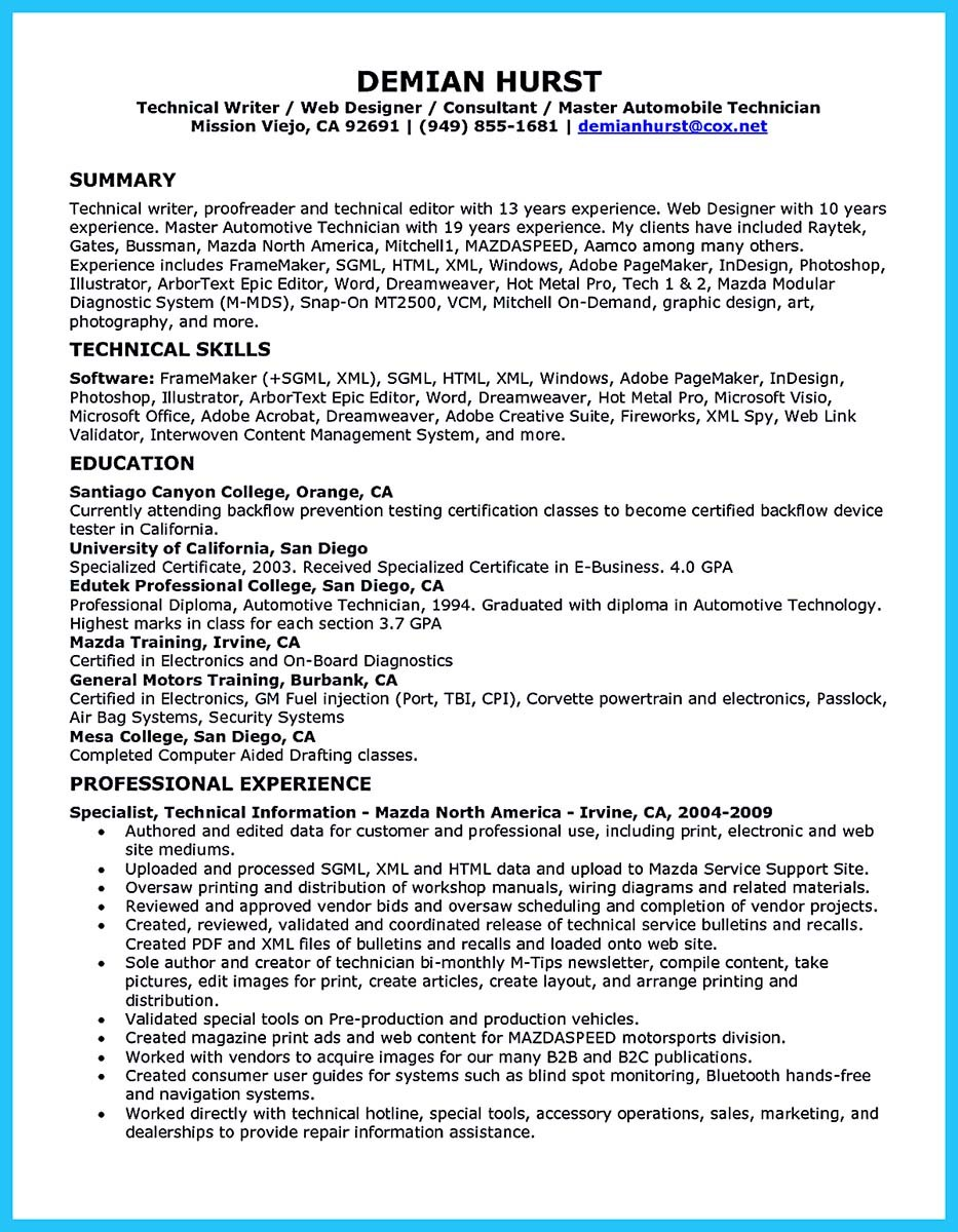 Auto Mechanic Resume Examples North Road 845 471 8255