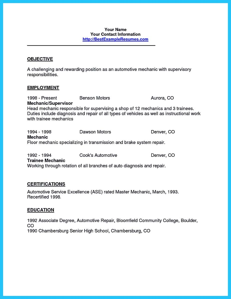 resume example auto mechanic creative - Resume For Auto Mechanic